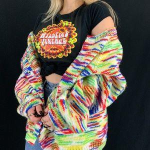 Vintage Handmade Rainbow Cardigan Sweater